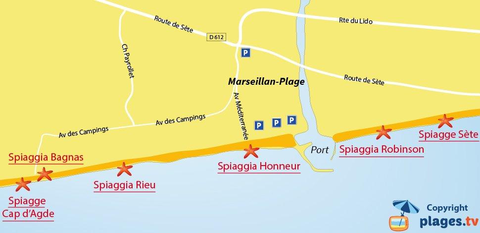 Mappa spiagge di Marseillan in Francia
