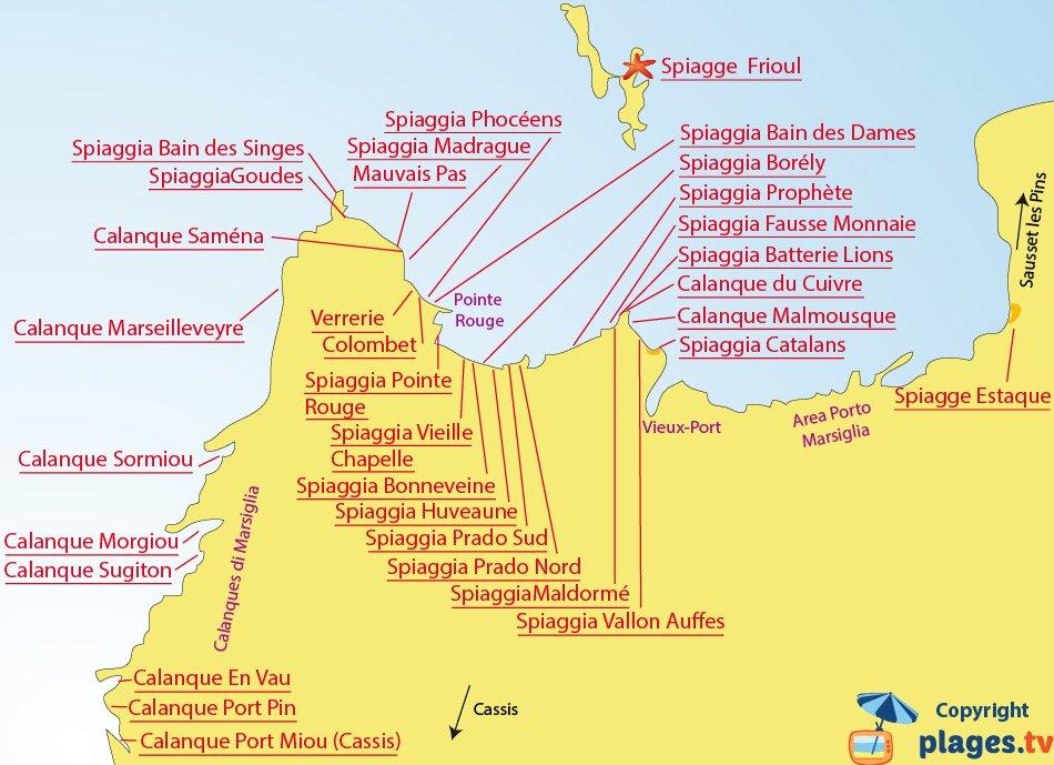 Mappa spiagge di Marsiglia - Francia