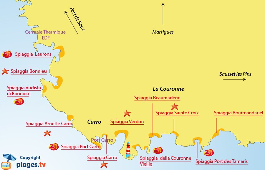 Mappa spiagge a Martigues La Couronne - Francia