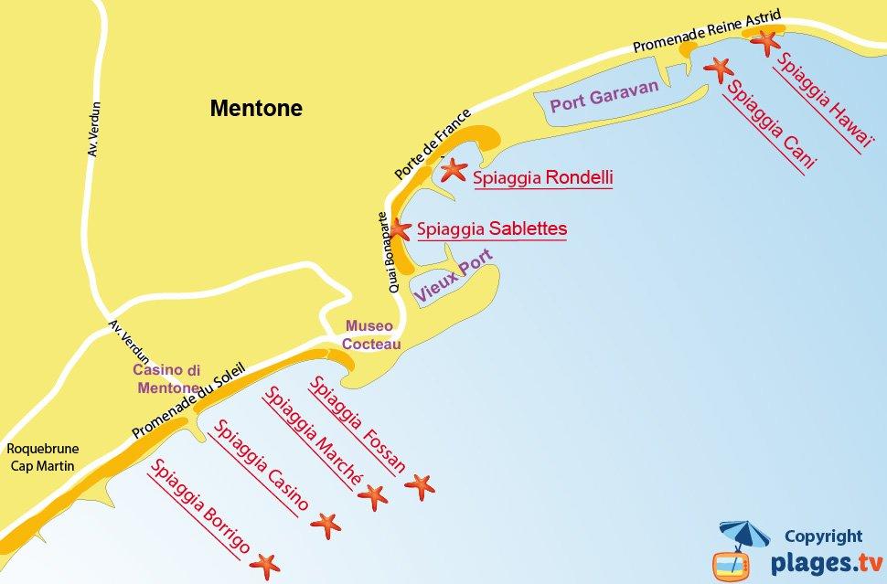 Mappa spiagge di Mentone - Francia