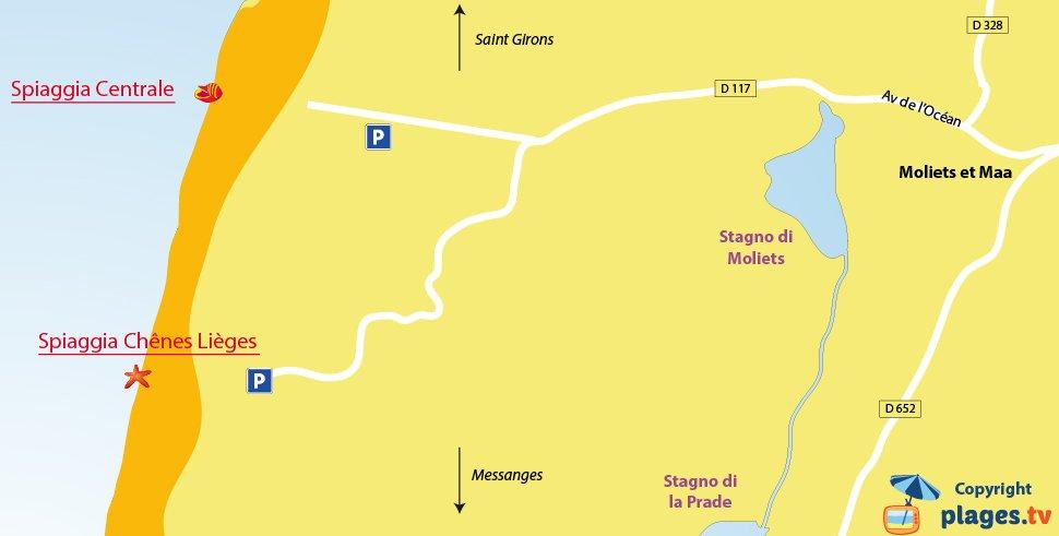 Mappa spiagge di Moliet et Maa in Francia