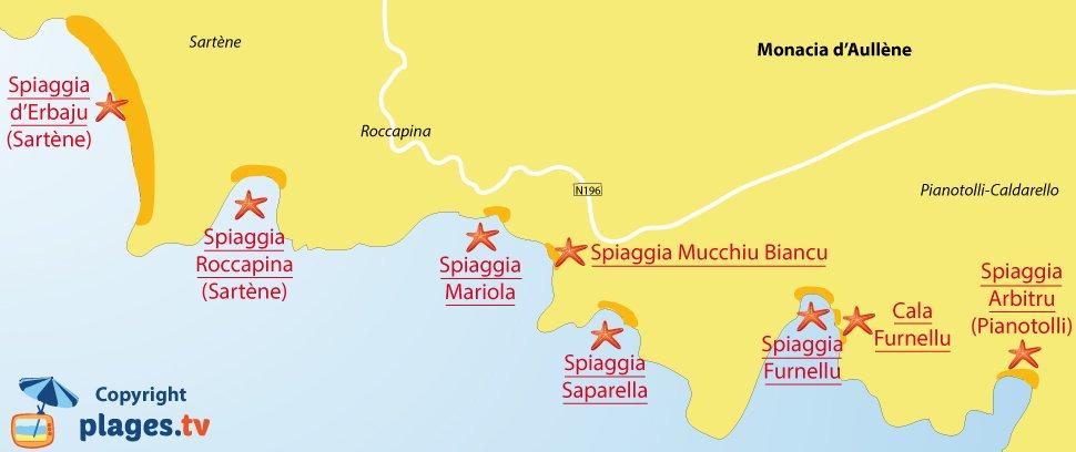 Mappa della spiaggia a Monacia-d'Aullène in Corsica