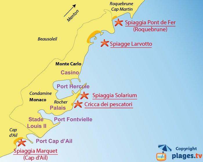Mappa spiagge Monaco - Francia
