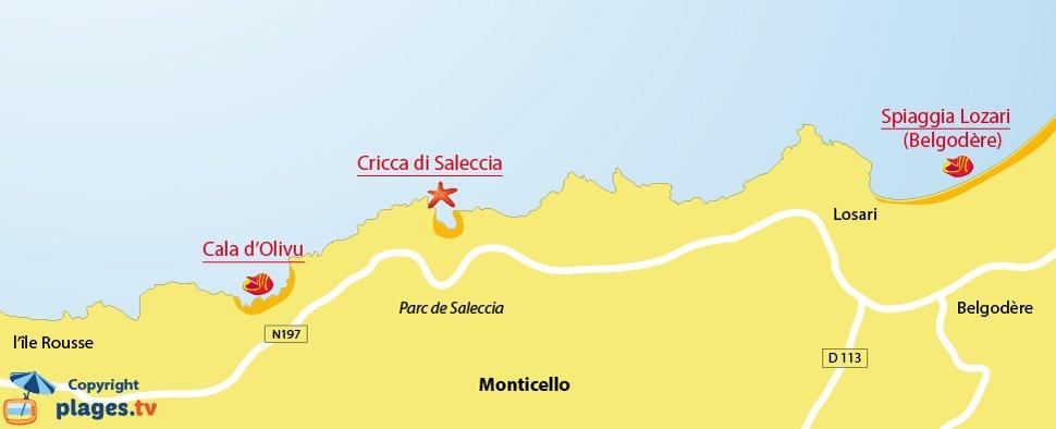 Mappa spiagge di Monticello in Corsica