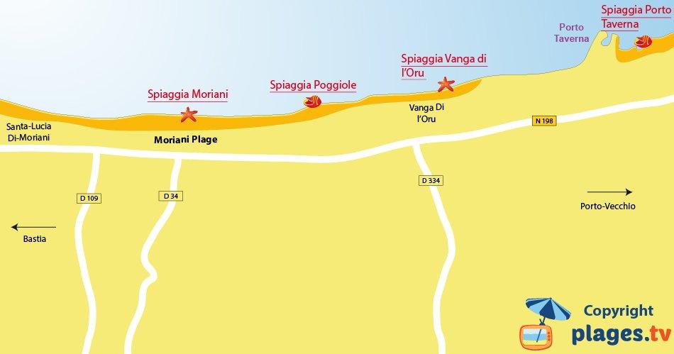 Mappa spiagge di Moriani in Corsica