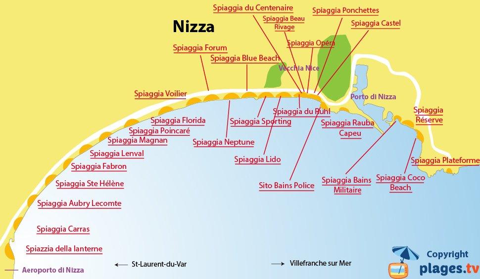 Mappa spiagge di Nizza - Francia