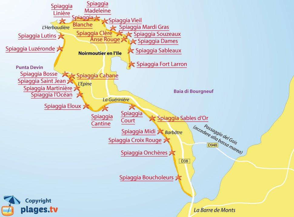 Mappa spiagge di Noirmoutier - Francia