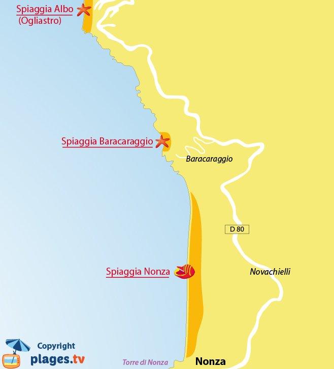 Mappa spiagge di Nonza in Corsica