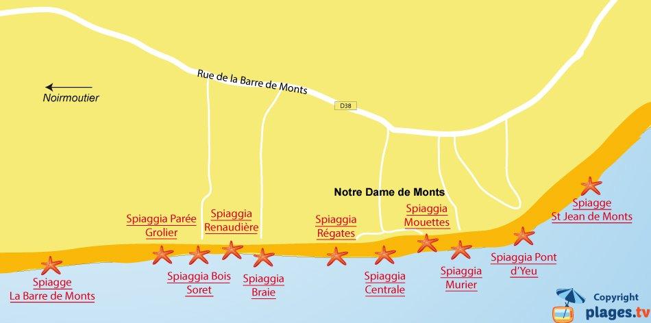 Mappa spiagge Notre Dame de Monts in Francia