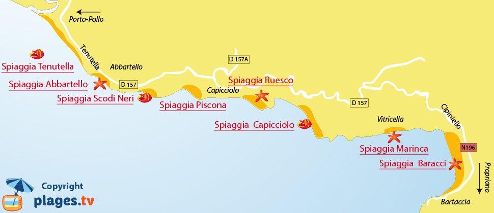 Mappa spiagge a Olmeto in Corsica - Francia