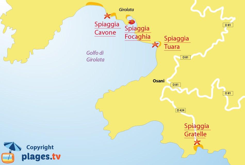 Mappa spiagge di Osati in Corsica - golfo di Girolata - Corsica