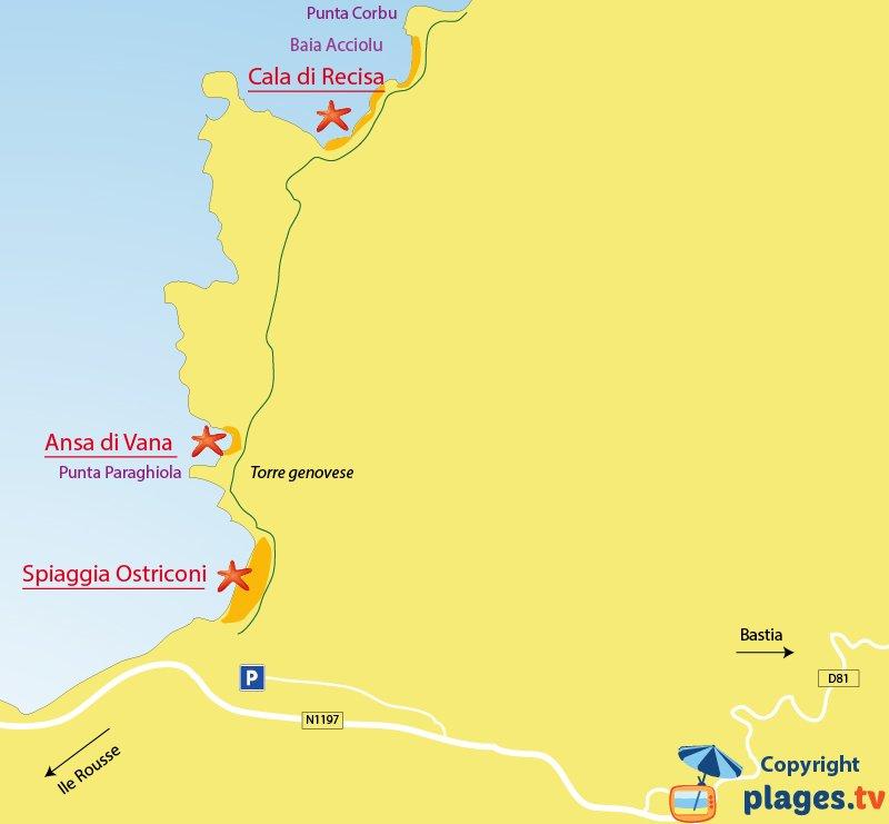 Mappa spiagge di Palasca (Ostriconi) in Corsica - Deserto delle Agriate