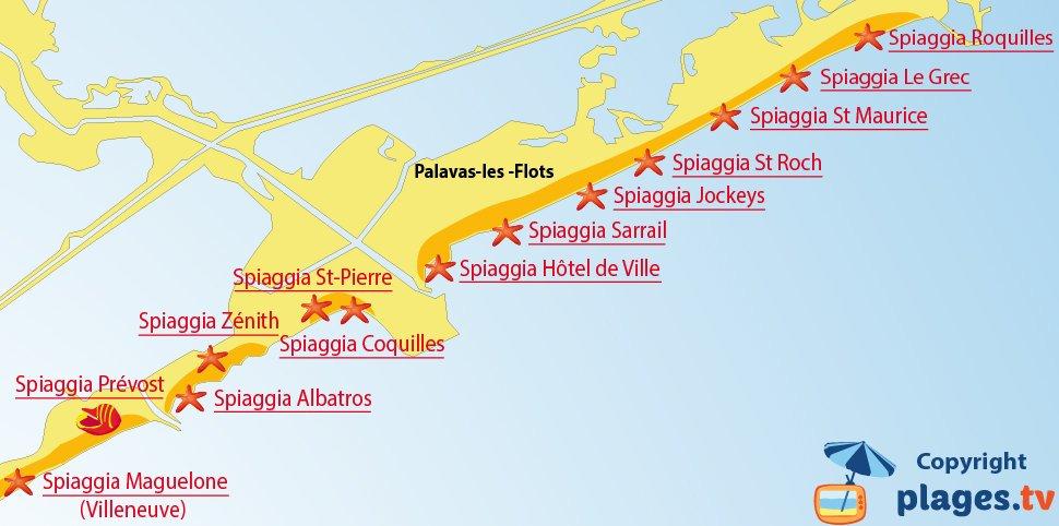 Mappa spiagge di Palavas les Flots in Francia