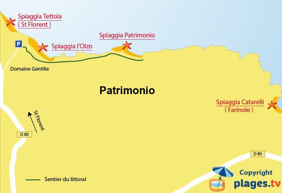 Mappa spiagge di Patrimonio in Corsica