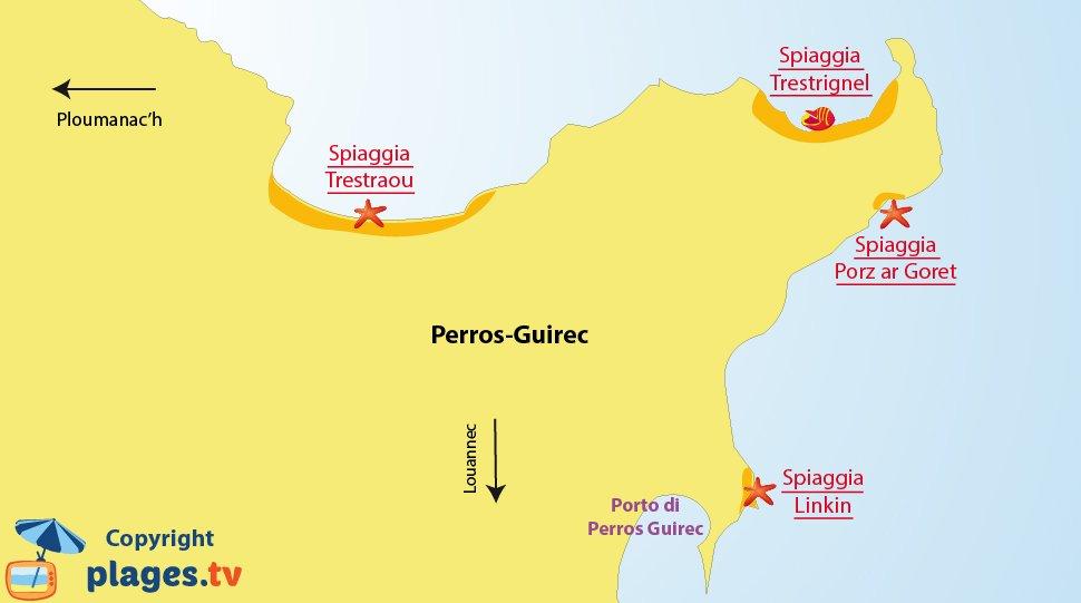 Mappa spiagge di Perros Guirec in Bretagna - Francia