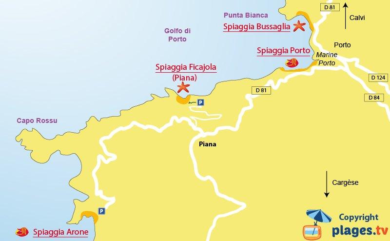 Mappa spiagge di Piana - Corsica