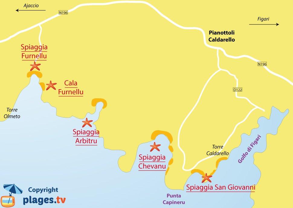 Mappa spiagge di Pianottoli-Caldarello in Corsica