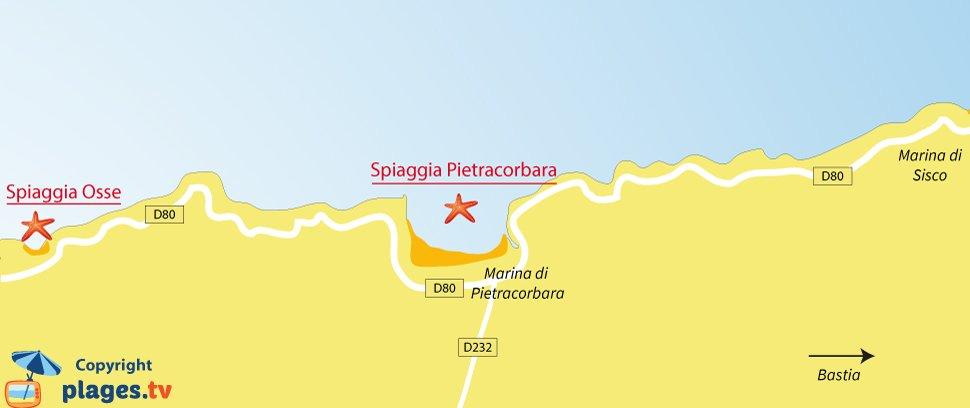 Mappa spiagge di Pietracorbara in Corsica