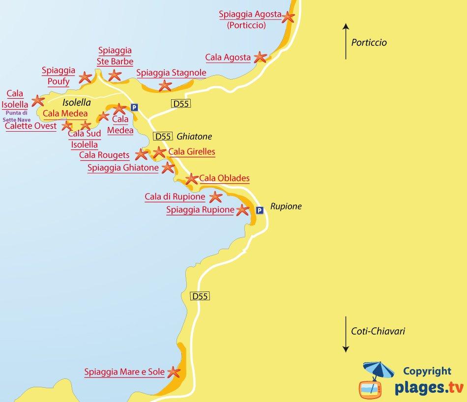 Mappa spiagge di Pietrosella in Corsica