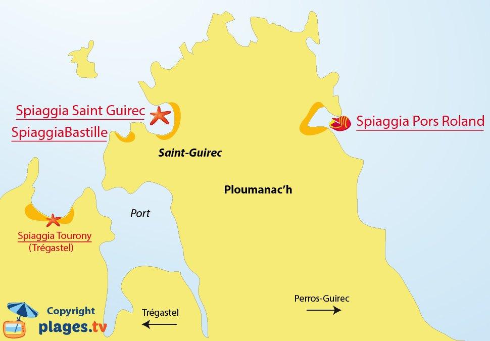 Mappa spiagge di Ploumanach - Bretagna - Francia