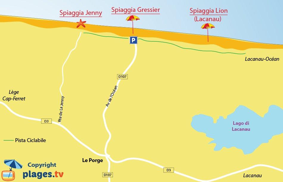 Mappa spiagge Le Porge in Francia