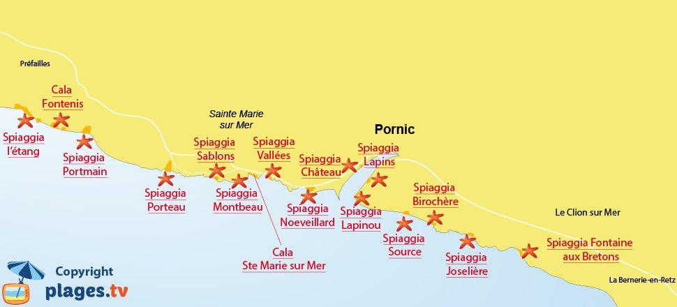 Mappa spiagge di Pornic in Francia