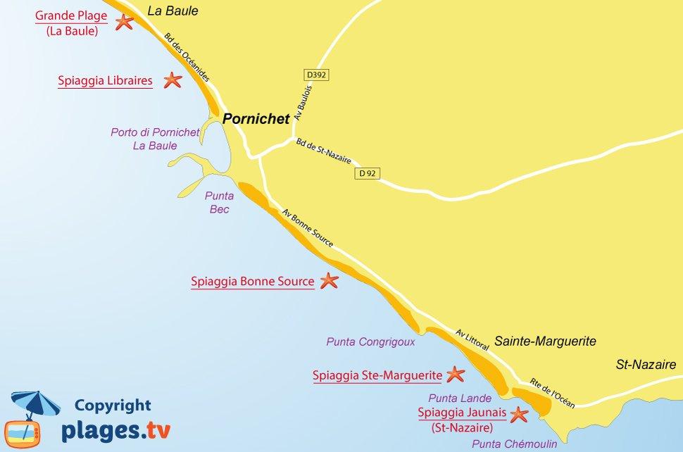 Mappa spiagge di Pornichet - Francia