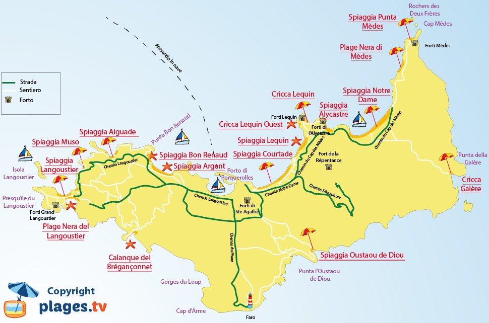 Mappa spiagge Porquerolles in Francia