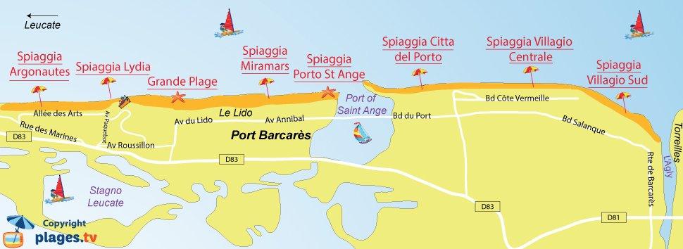 Mappa della spiagge de Port Barcares - Francia