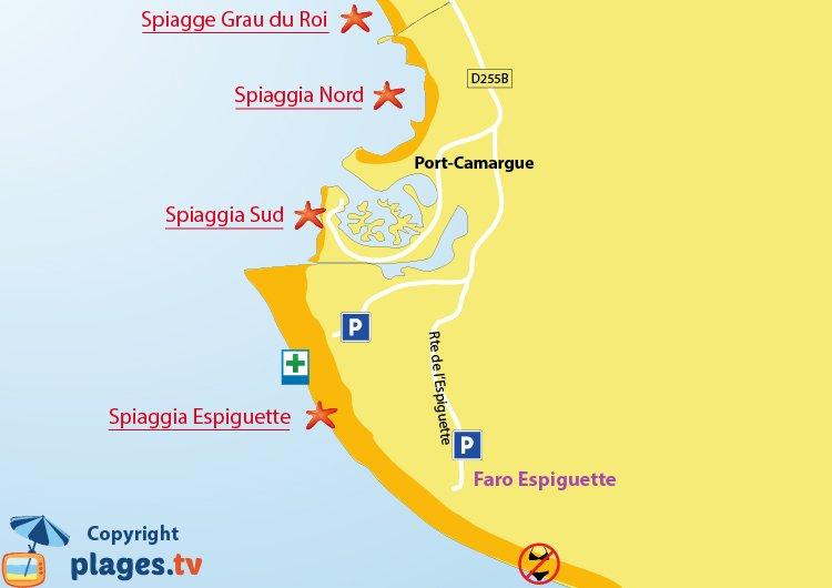 Mappa spiagge Port-Camargue - Francia