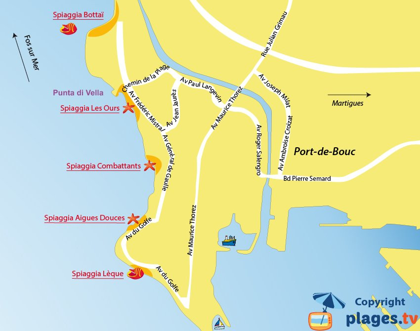 Mappa spiagge di Port de Bouc in Francia