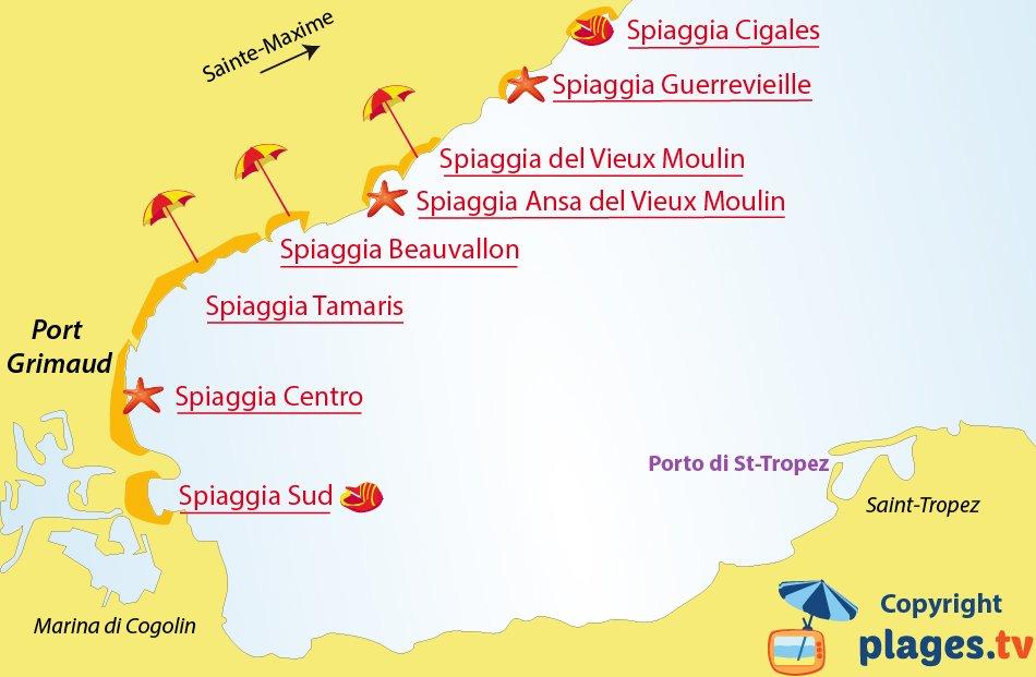 Mappa spiagge di Port-Grimaud - Francia