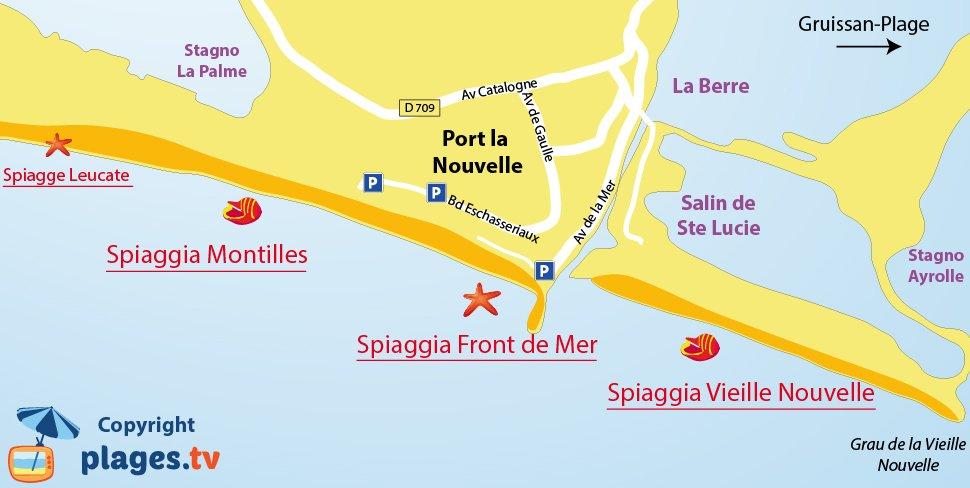 Mappa spiagge di Port-la-Nouvelle in Francia