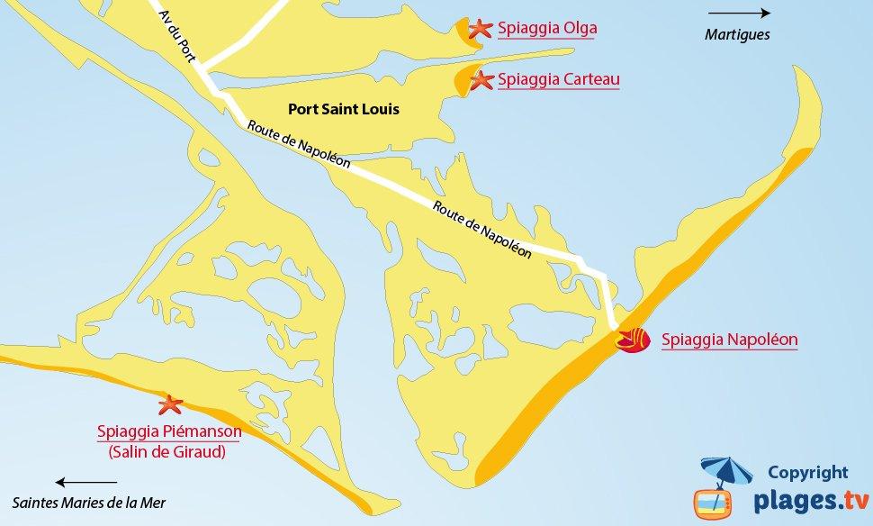 Mappa spiagge di Port Saint Louis in Francia