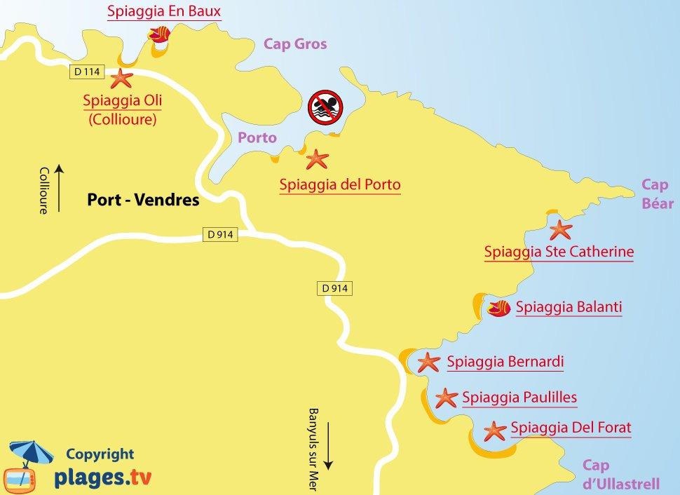 Mappa spiagge di Port-Vendres in Francia