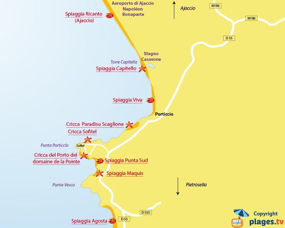 Mappa spiagge di Porticcio in Corsica - Francia