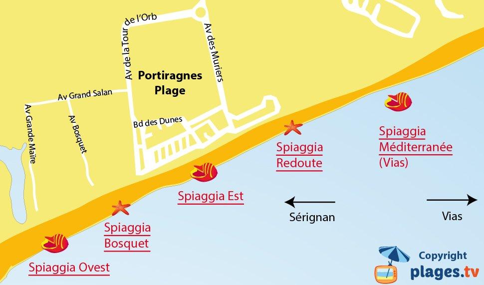 Mappa spiagge di Portiragnes in Francia