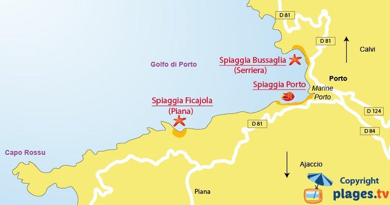 Mappa spiagge di Porto in Corsica