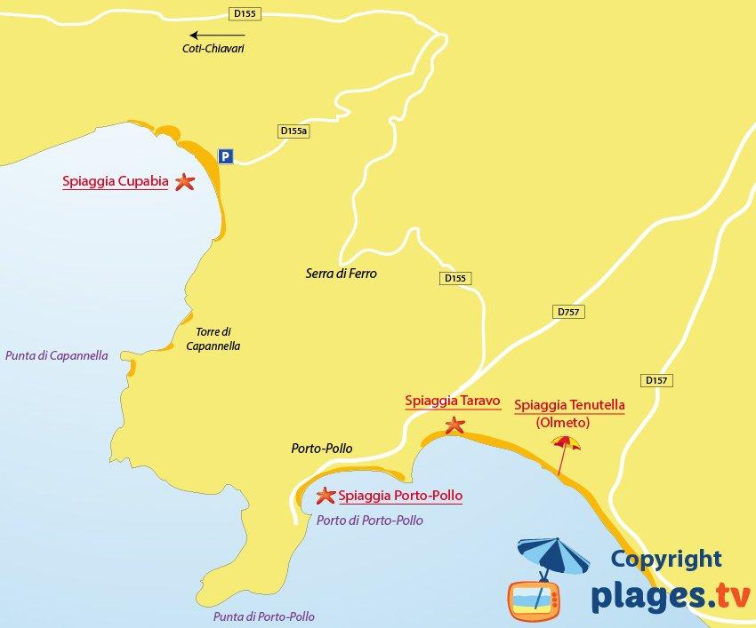 Mappa spiagge di Porto Pollo - Corsica