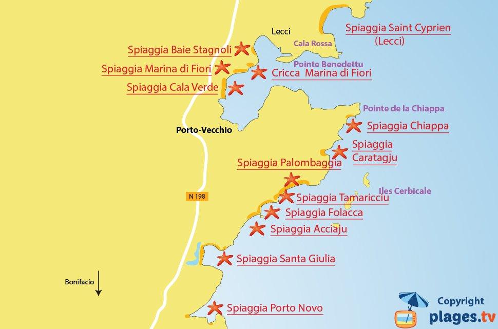 Mappa spiagge a Porto-Vecchio - Corsica