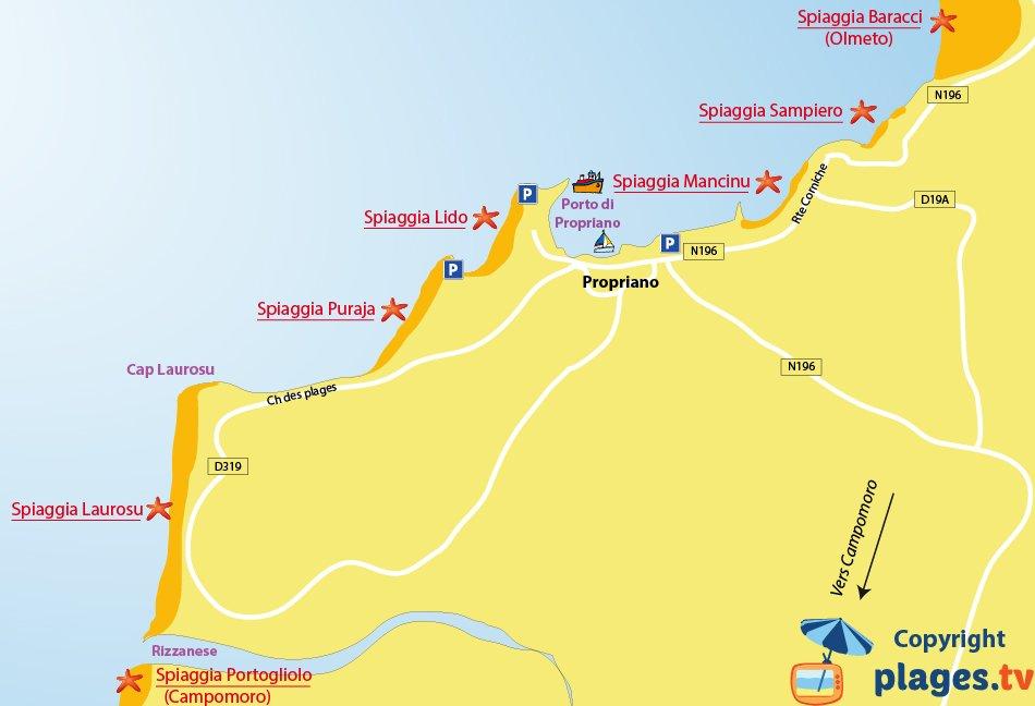 Mappa spiagge di Propriano in Corsica