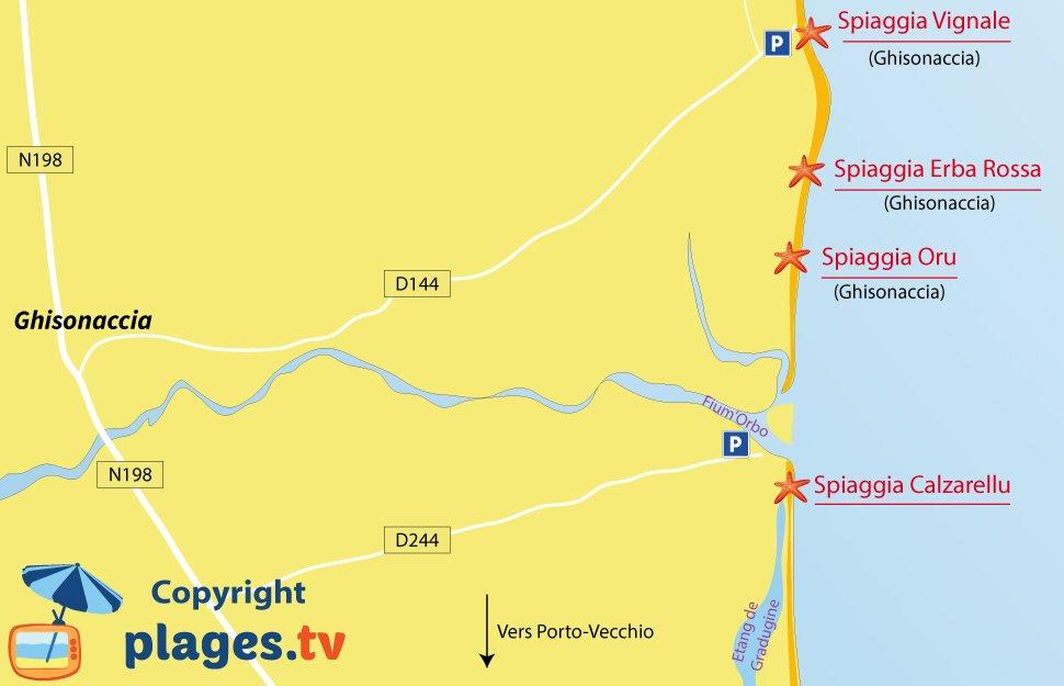 Mappa spiagge di Punelli di Fiumorbo in Corsica