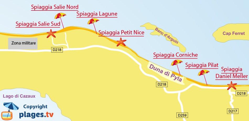 Mappa spiagge di Pyla sur Mer in Francia