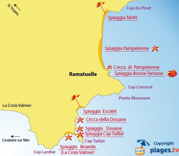 Mappa spiagge di Ramatuelle - Francia