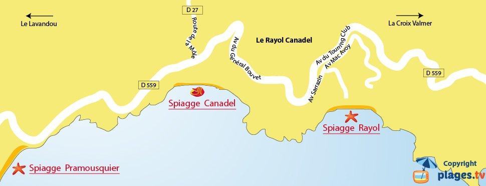 Mappa spiagge Rayol Canadel - Francia