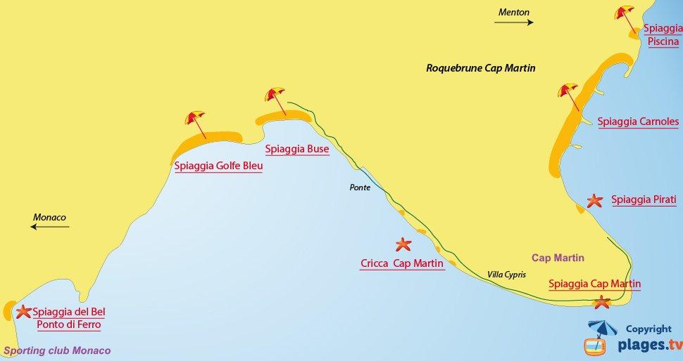Mappa spiagge di Roquebrune Cap Martin in Francia