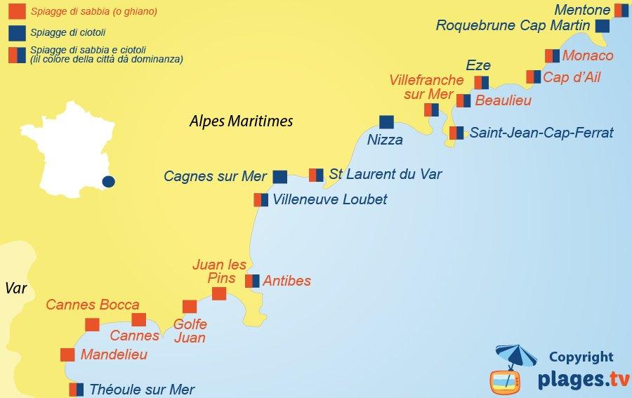 mappa spiagge di sabbia e di ciotoli delle Alpi-Marittime - Francia