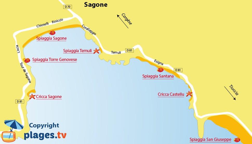 Mappa spiagge di Sagone - Corsica