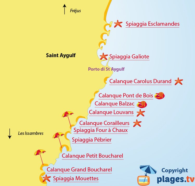 Mappa spiagge di Saint Aygulf - Francia