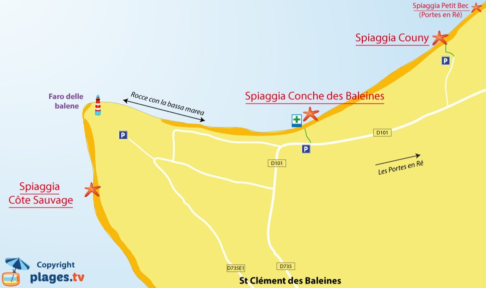 Mappa spiagge di Saint Clement les Baleines in Francia